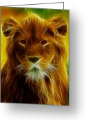 Felidae Digital Art Greeting Cards - Fractal Lion Greeting Card by Wade Aiken