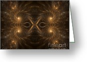 Image Repeat Greeting Cards - Fractal Masquerade Greeting Card by Janeen Wassink Searles