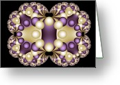 Pearls Greeting Cards - Fractal Pearls Greeting Card by Sandra Bauser Digital Art