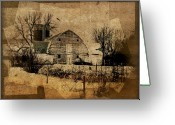 Rural Decay  Digital Art Greeting Cards - Fragmented Barn  Greeting Card by Julie Hamilton
