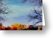 Tree Limbs Greeting Cards - Framed Fall Trees Greeting Card by Marsha Heiken