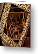 Christopher Holmes Greeting Cards - Framed Tools Greeting Card by Christopher Holmes