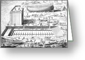 Construction Yard Greeting Cards - France: Ship Building Greeting Card by Granger