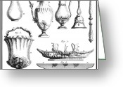 Silver Pitcher Greeting Cards - France: Silverware Greeting Card by Granger