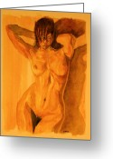 Nude Mixed Media Greeting Cards - Francesca Greeting Card by Dan Earle
