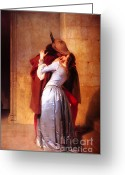 The Kiss Painting Greeting Cards - Francesco Hayez Il Bacio or The Kiss Greeting Card by Pg Reproductions