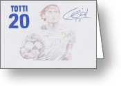 Benzema Greeting Cards - Francesco Totti Greeting Card by Toni Jaso