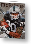 Running Back Greeting Cards - Franchise Greeting Card by Jim Wetherington