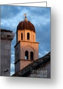 Franciscan Greeting Cards - Franciscan Monastery Tower at Sunset Greeting Card by Artur Bogacki