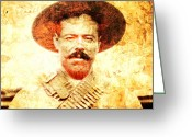 Pancho Greeting Cards - Francisco Villa Greeting Card by Juan Jose Espinoza