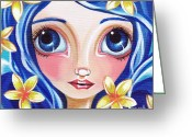 Boho Greeting Cards - Frangipani Fairy Greeting Card by Jaz Higgins