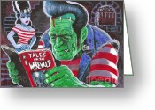 Frankenstein Greeting Cards - Frank and Bride Greeting Card by Ben Von Strawn
