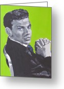 Frank Sinatra Greeting Cards - Frank Sinatra Blue Greeting Card by Eric Dee