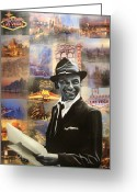 Cities Greeting Cards - Frank Sinatra Greeting Card by Ryan Jones