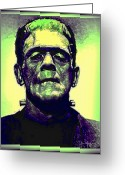 Wolfman Greeting Cards - Frankenstein in Color Greeting Card by Joan  Minchak