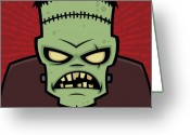 Green Monster Greeting Cards - Frankenstein Monster Greeting Card by John Schwegel