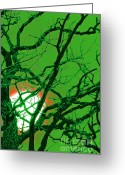 Supernatural Mixed Media Greeting Cards - Frankenstein Moon Greeting Card by First Star Art