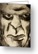 Mary Shelley Greeting Cards - Frankenstein Scratch Print Greeting Card by Sam Hane