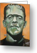 Classic Monster Greeting Cards - Frankenstein Greeting Card by Tom Carlton
