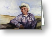 Cowboy Greeting Cards - Frankie Greeting Card by Sam Sidders
