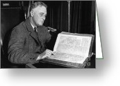 Democrat Party Greeting Cards - Franklin D. Roosevelt, 32nd American Greeting Card by Photo Researchers