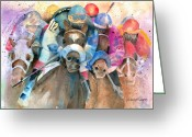 Jockeys Greeting Cards - Frantic Finish Greeting Card by Arline Wagner