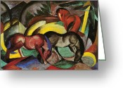Wild Horse Painting Greeting Cards - Franz Marc  Greeting Card by Three Horses