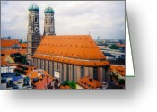 Kevin W .smith Greeting Cards - Frauenkirche Munich  Greeting Card by Kevin Smith