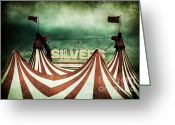 Tent Greeting Cards - Freak Show Greeting Card by Andrew Paranavitana