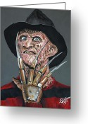 Glove Greeting Cards - Freddy Kruger Greeting Card by Tom Carlton