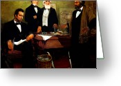 American History Painting Greeting Cards - Frederick Douglass appealing to President Lincoln Greeting Card by War Is Hell Store