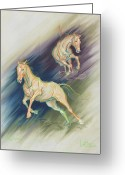 Horses Pastels Greeting Cards - Free Expression Greeting Card by Kim McElroy