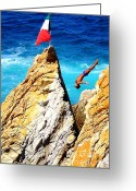 Sports Art Greeting Cards - Free Fall Short Greeting Card by Karen Wiles