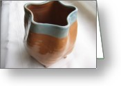 Thrown Ceramics Greeting Cards - Free-form Pentagon Vase  Greeting Card by Julia Van Dine