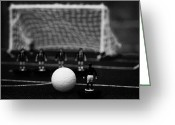 Game Piece Greeting Cards - Free Kick With Wall Of Players Football Soccer Scene Reinacted With Subbuteo Table Top Football  Greeting Card by Joe Fox