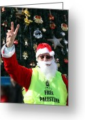 Christmas Greeting Cards - Free Palestine Santa Greeting Card by Munir Alawi