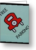 Monopoly Digital Art Greeting Cards - Free Parking Greeting Card by Rob Hans