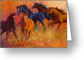 Cowboy Greeting Cards - Free Range - Wild Horses Greeting Card by Marion Rose