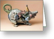 Animal Ceramics Greeting Cards - Free ride Greeting Card by Kathleen Raven