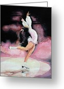 Ice Skater Greeting Cards - Free Spirit Greeting Card by Hanne Lore Koehler