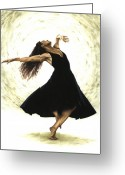 Black Print Greeting Cards - Free Spirit Greeting Card by Richard Young