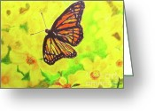 Metamorphosis Drawings Greeting Cards - Free to Fly Greeting Card by Beth Saffer