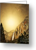 Gold Mountain Mixed Media Greeting Cards - Free To Soar The Boundless Sky . Portrait Cut Greeting Card by Wingsdomain Art and Photography