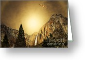 Gold Mountain Mixed Media Greeting Cards - Free To Soar The Boundless Sky Greeting Card by Wingsdomain Art and Photography