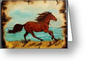 Horse Pyrography Greeting Cards - Freedom Greeting Card by Kenneth Lambert