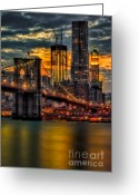 Woolworth Building Greeting Cards - Freedom Rising Greeting Card by Susan Candelario