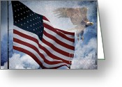 "\""old Glory\\\"" Greeting Cards - Freedom Greeting Card by Scott Pellegrin"