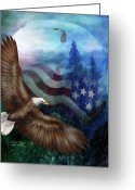Bird Of Prey Mixed Media Greeting Cards - Freedoms Flight Greeting Card by Carol Cavalaris