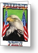 Eagle Drawings Greeting Cards - Freedoms Pride Greeting Card by Sheryl Unwin