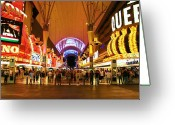 Nv Greeting Cards - Freemont Street Las Vegas Greeting Card by David Gardener